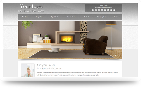 Real Estate Authentic-Light-Grey Website Template Design Preview - Click to View