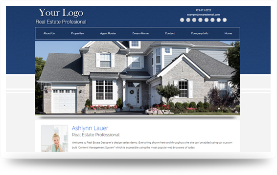 Real Estate Backsplash-Blue Website Template Design Preview - Click to View