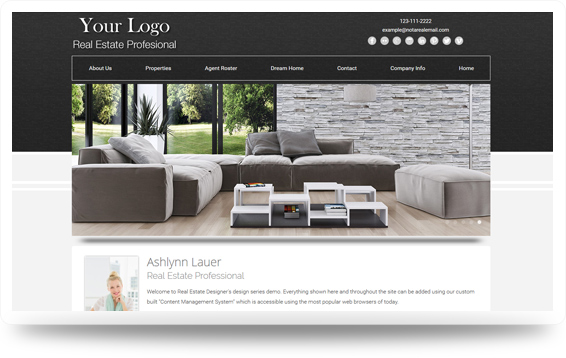 Real Estate Backsplash-Grey Website Template Design Preview - Click to View