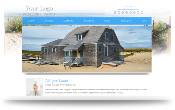 Real Estate Beach-Dunes Website Template Design Preview - Click to View