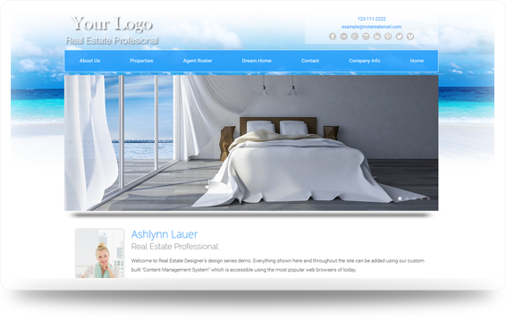 Real Estate Beach-White-Sands Website Template Design Preview - Click to View