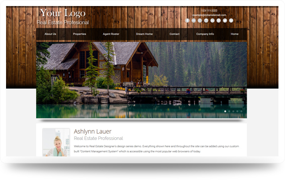Real Estate Cabin-Chestnut Website Template Design Preview - Click to View