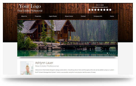 Real Estate Cabin-Rustic Website Template Design Preview - Click to View