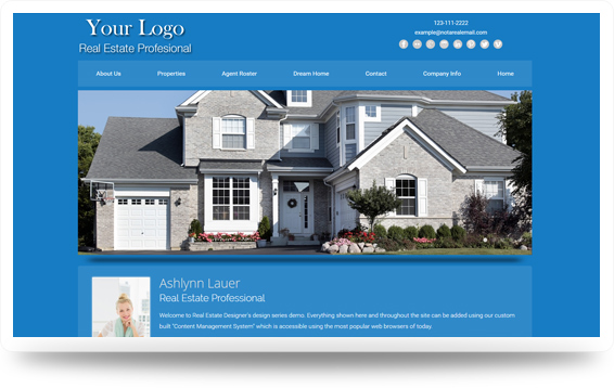 Real Estate Clean-Blue Website Template Design Preview - Click to View