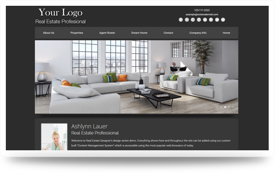Real Estate Clean-Grey Website Template Design Preview - Click to View