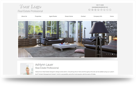 Real Estate Crisp-Grey Website Template Design Preview - Click to View
