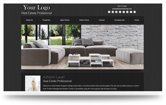 Real Estate Refined-Grey Website Template Design Preview - Click to View